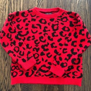 NEW LOOK Red animal print sweater